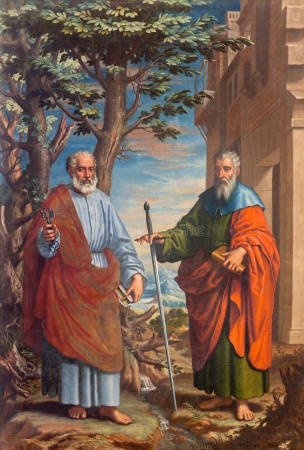 Granada - a pintura de St Paul e de St Peter na igreja Monasterio de la Cartuja pela batalha Juan Sanchez Cotan (1560 - 1627) foto de stock royalty free