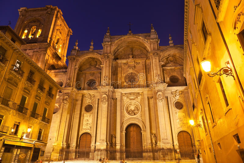 Granada's Cathedral at night stock images