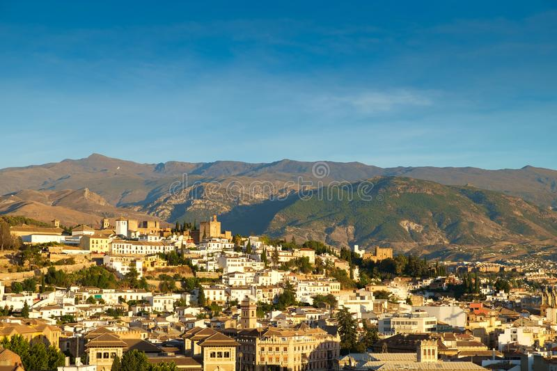 Granada and the Sierra Nevada Mountains, Spain. royalty free stock photos