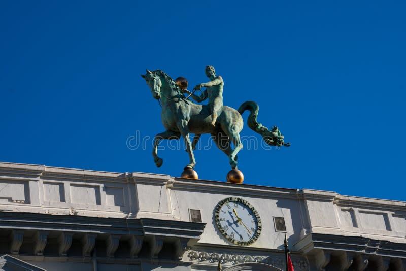 Sculpture called El Instante Preciso on Granada City Hall stock image