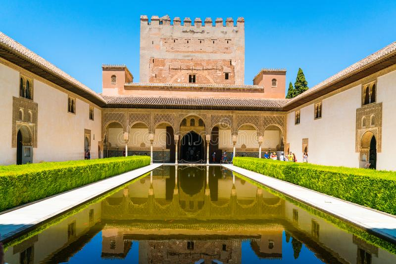 Tourists visiting the old city of La Alhambra near Granada royalty free stock photo