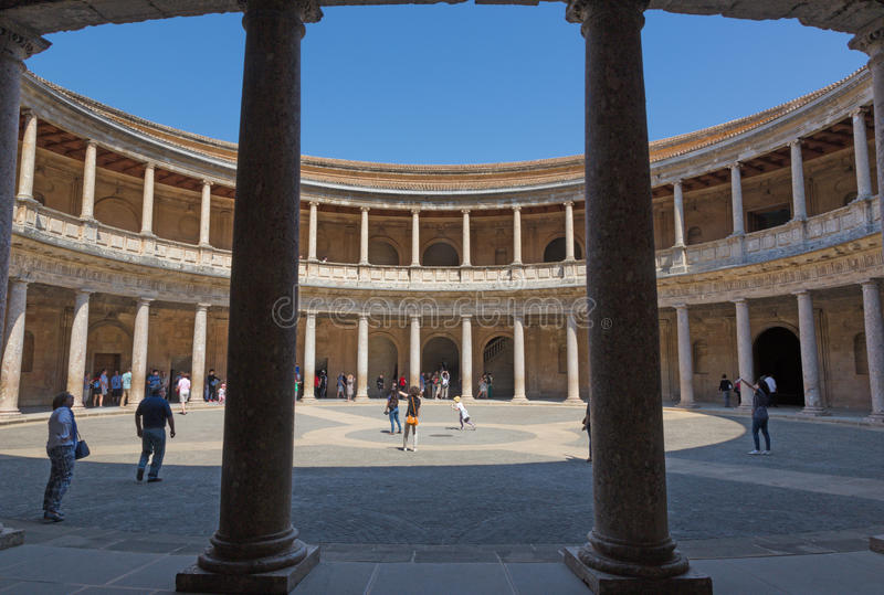 GRANADA, SPAIN - MAY 30, 2015: The columns and atrium of Alhambra palace of Charles V.. stock image