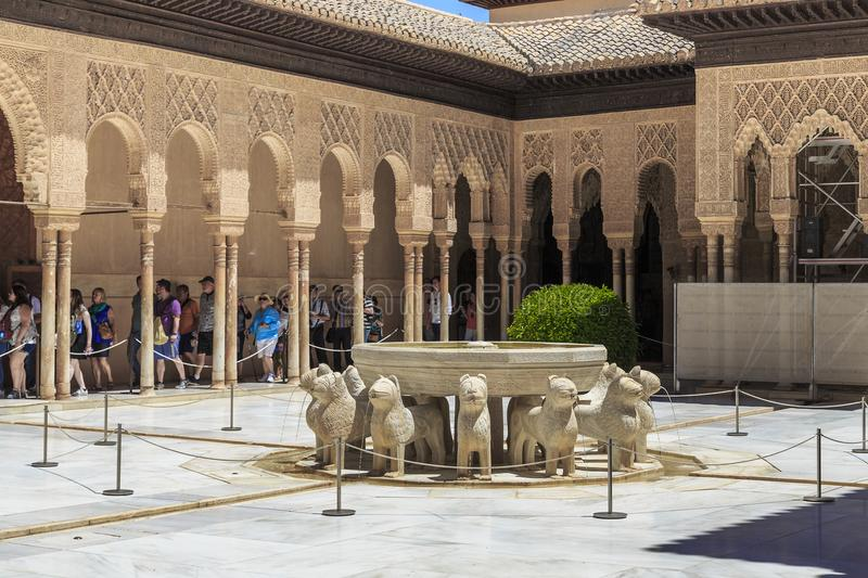 Alhambra in Granada, Spain: Nasrid Palace, Patio of the Lions royalty free stock images