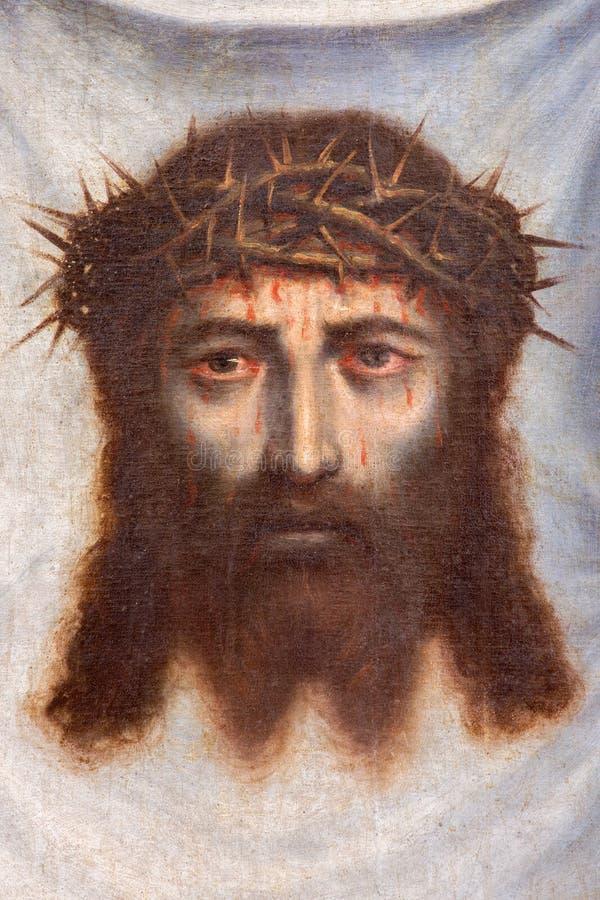 Free Granada - The Face Of Jesus Christ Paint As The Detail Of Pant Santa Faz In Monasterio De La Cartuja Royalty Free Stock Photography - 55605917