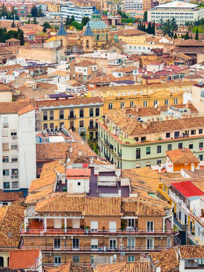 Granada van hierboven met kleurrijke huizen royalty-vrije stock afbeelding