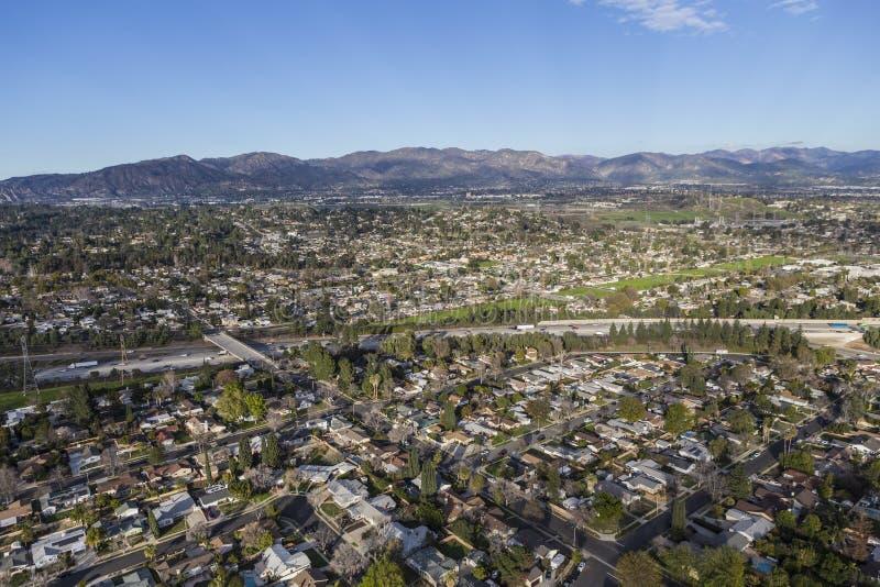 Granada wzgórzy San Fernando Los Angeles Dolinna antena zdjęcie royalty free