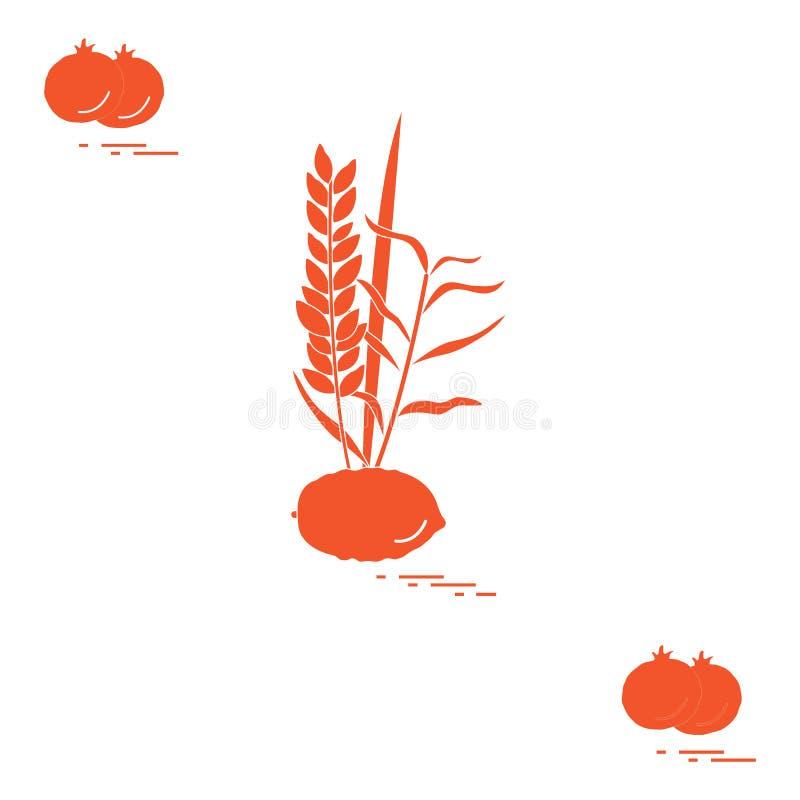 Granada y Lulav - cualidad simbólica del día de fiesta de Sukkot Tradiciones y símbolos judíos Diseño para la postal, bandera, stock de ilustración