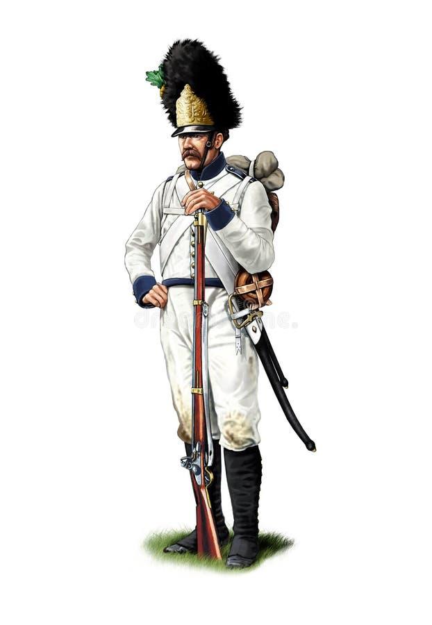 Granadero austríaco napoleónico ilustración del vector