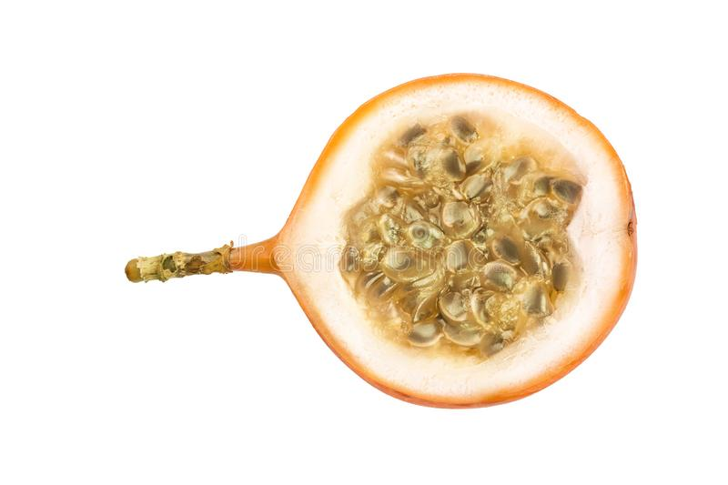 Granadilla or yellow passion fruit isolated on white background. Top view. Flat lay stock photos