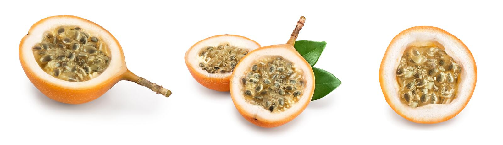 Granadilla or yellow passion fruit with leaf isolated on white background. Set or collection.  stock photography