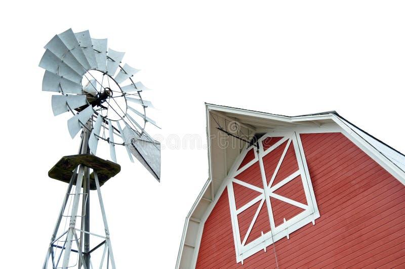 Granaio e mulino a vento fotografie stock