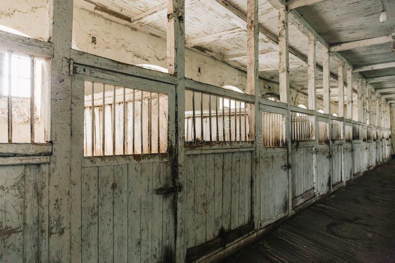 Granaio o stalla di cavallo sull'azienda agricola o sul ranch, vecchie scatole di cavallo di legno immagine stock libera da diritti