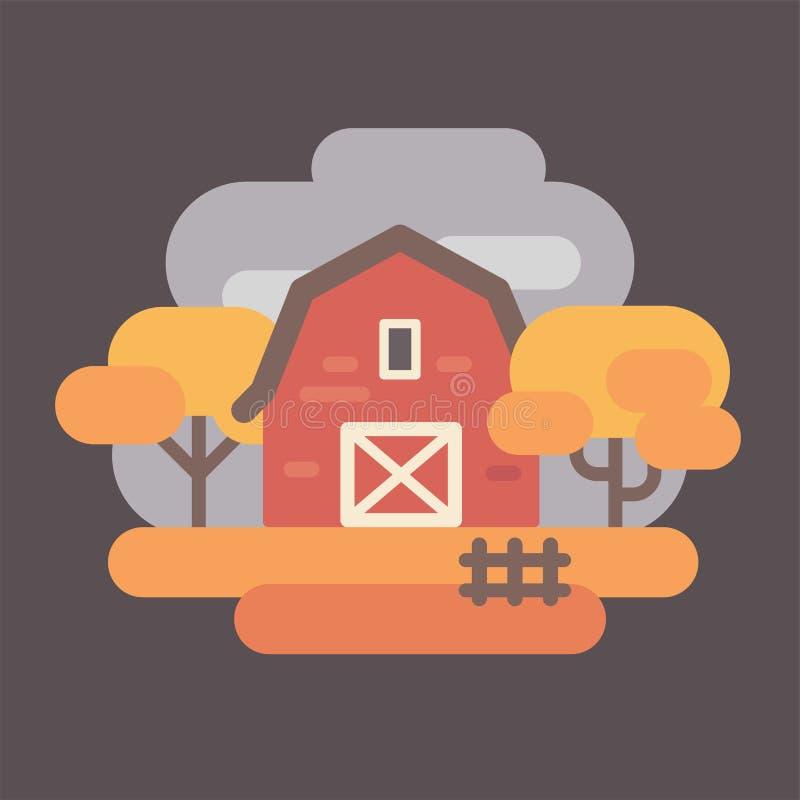 Granaio rosso con gli alberi di autunno Contesto del paesaggio della campagna di caduta illustrazione vettoriale