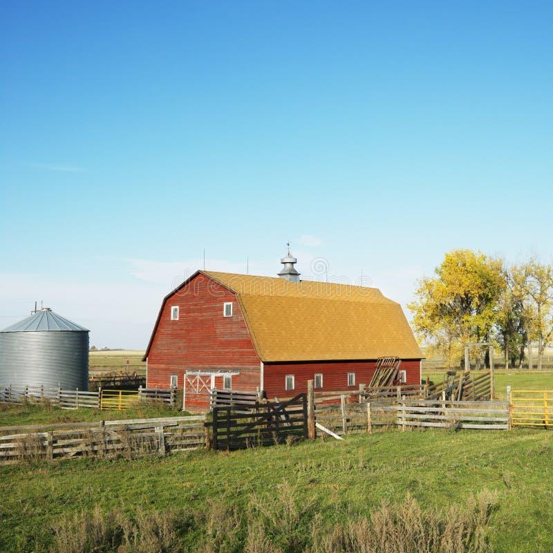 Granaio rosso nel campo. immagini stock libere da diritti
