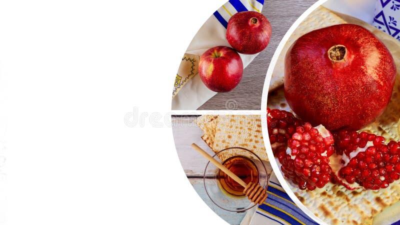Granatäpple, äpple och honung, traditionell mat av judisk beröm för nytt år, Rosh Hashana Shofar- och tallitCopyspace backgroun arkivfoton