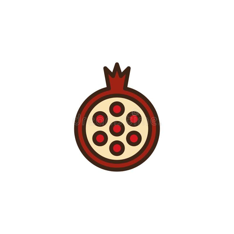 Granatäpplefrukt fyllde översiktssymbolen stock illustrationer
