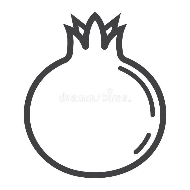 Granatäpplelinje symbol, frukt och granatrött stock illustrationer