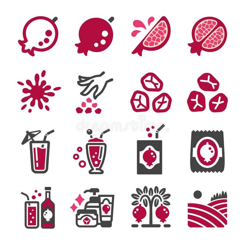 Granatäpplesymbolsuppsättning vektor illustrationer