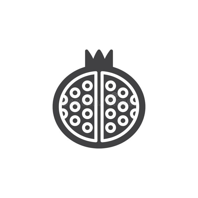 Granatäpplesymbolsvektor, fyllt plant tecken, fast pictogram som isoleras på vit stock illustrationer
