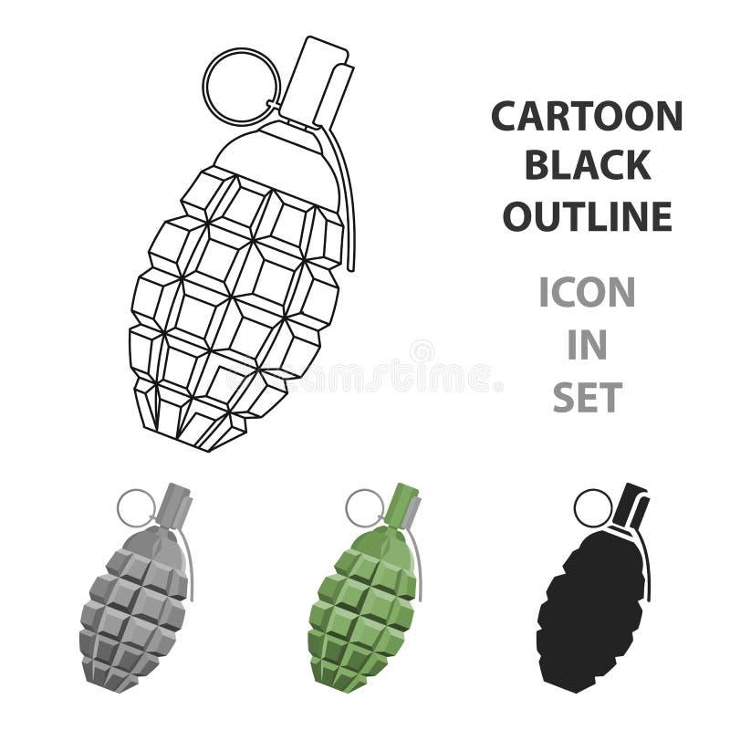 Granatenikonenkarikatur Einzelne Waffenikone von der großen Munition, Arme eingestellt stock abbildung