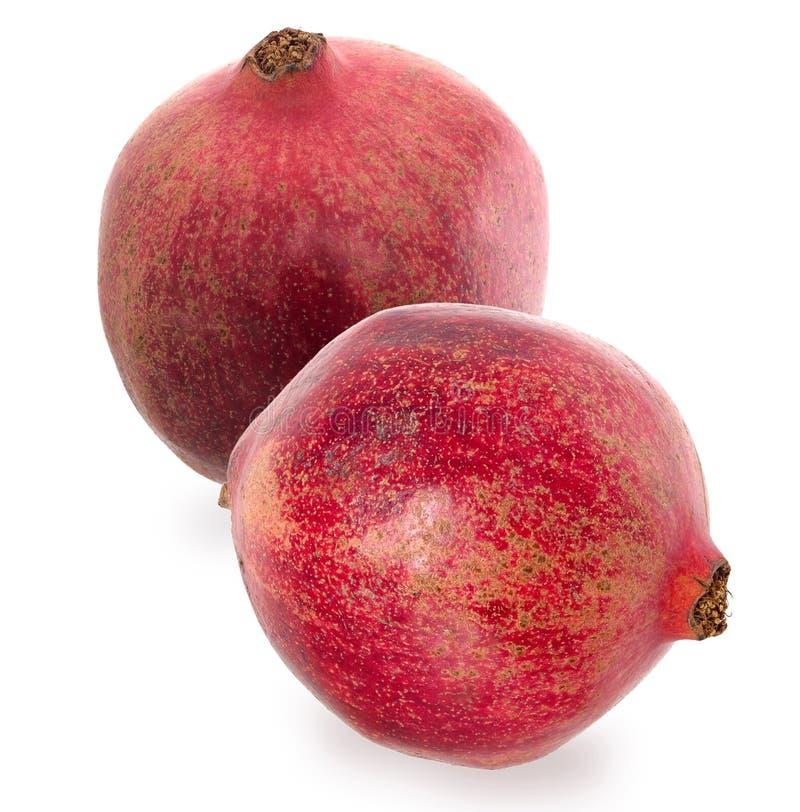 Granato rosso maturo due Metta i frutti del melograno maturo rosso su W fotografie stock