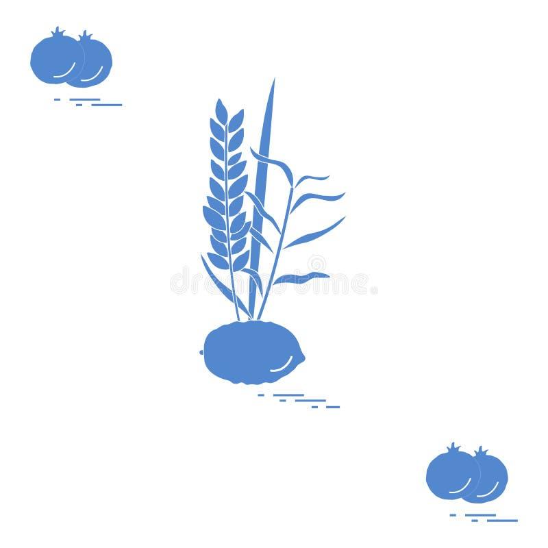 Granatowiec i Lulav - symboliczny atrybut wakacje Sukkot Żydowskie tradycje i symbole ilustracji