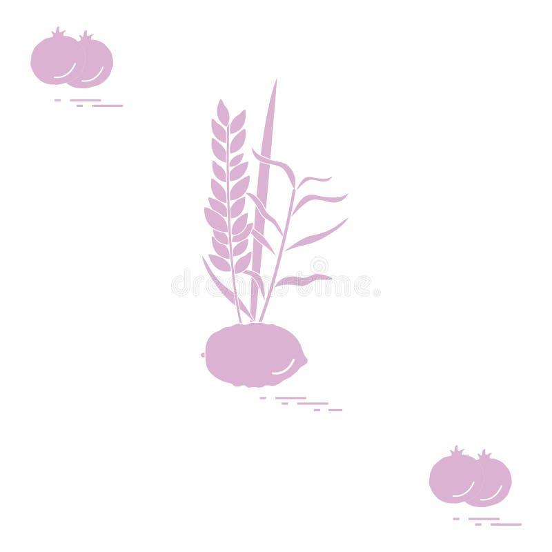 Granatowiec i Lulav - symboliczny atrybut wakacje Sukkot Żydowskie tradycje i symbole royalty ilustracja