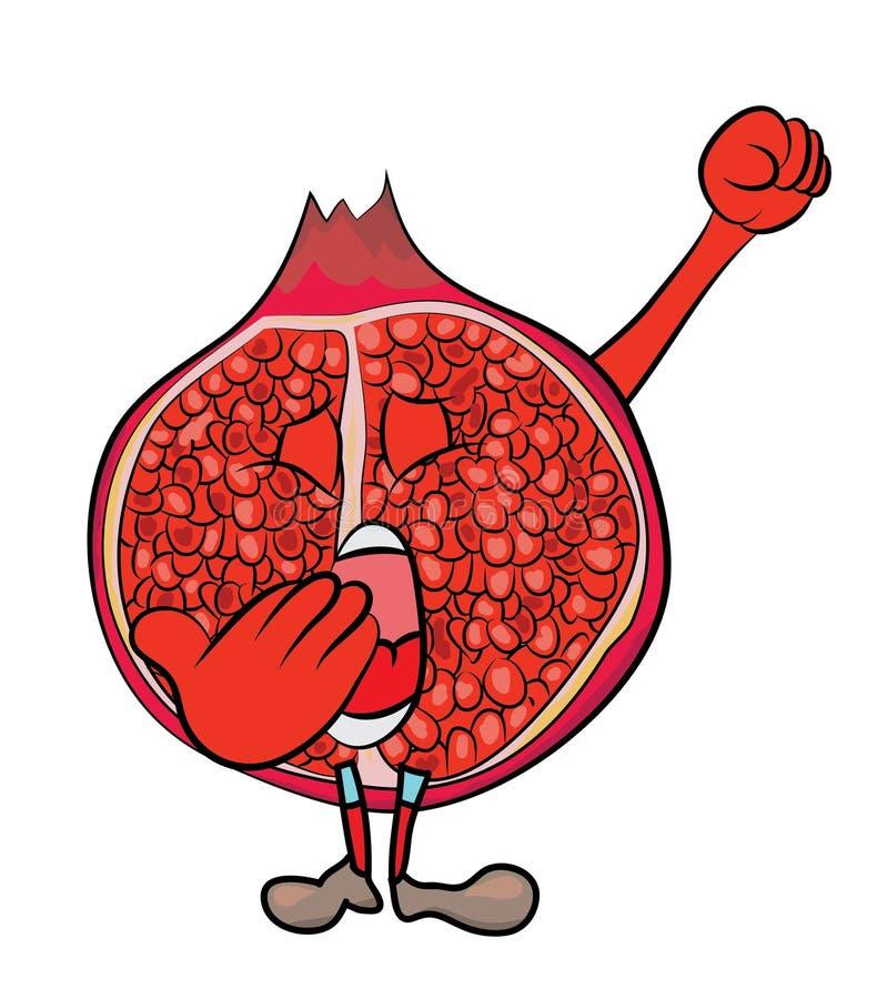 Granatowiec owoc postać z kreskówki zdjęcie royalty free