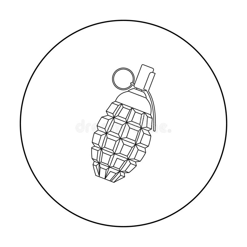 Granatsymbolsöversikt Den enkla vapensymbolen från de stora ammunitionarna, armar ställde in royaltyfri illustrationer