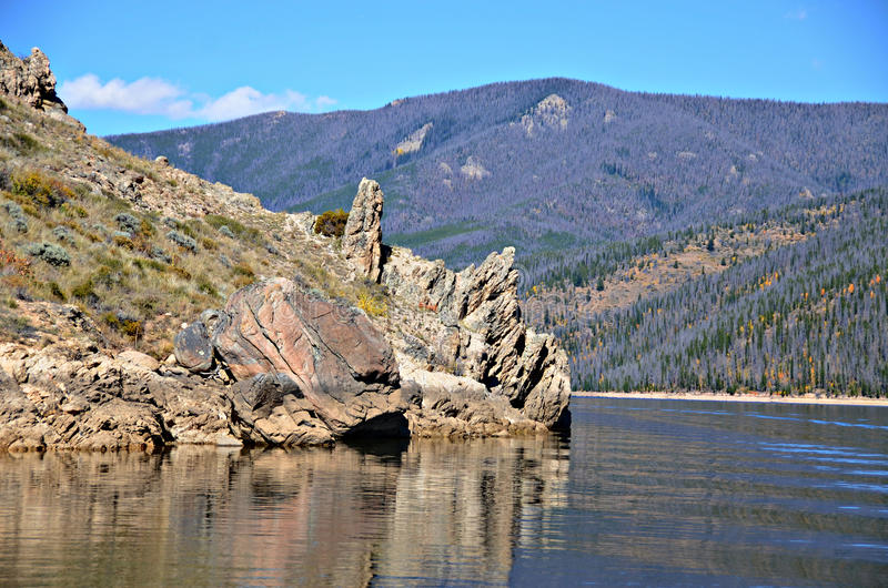 Granby Lake, Colorado. Granby Lake and Rocky Mountains in Colorado royalty free stock photo
