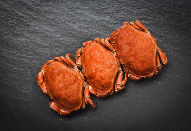 Granchi cucinati sulla vista superiore del piatto scuro - frutti di mare cotti a vapore del granchio di pietra fotografia stock