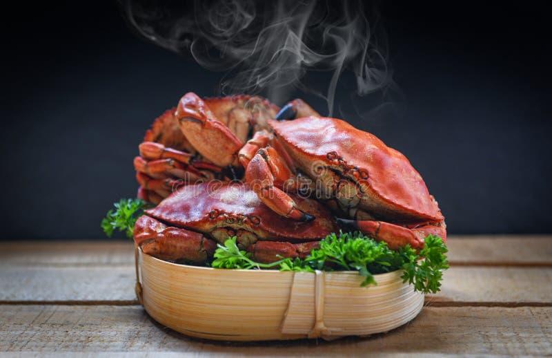 Granchio cucinato sul vapore e sul fondo scuro - i frutti di mare hanno bollito i granchi di pietra rossi immagini stock libere da diritti