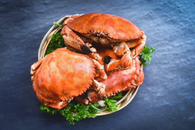 Granchio cucinato sul vapore e sul fondo scuro - i frutti di mare hanno bollito i granchi di pietra rossi fotografia stock libera da diritti