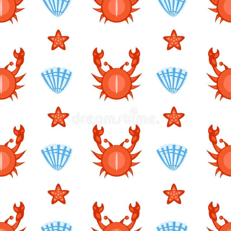 Granchio di nuoto senza cuciture marino del fumetto del modello di vettore, conchiglia, illustrazione delle stelle marine isolata illustrazione vettoriale