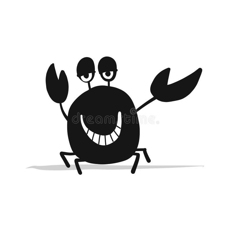Granchio divertente, siluetta nera per la vostra progettazione illustrazione vettoriale