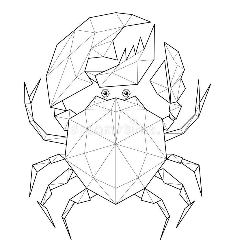 Granchio - illustrazione bassa del poligono royalty illustrazione gratis