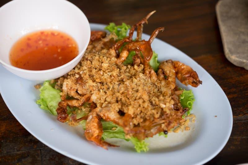 Granchio molle fritto delle coperture con aglio - alimento tailandese fotografia stock libera da diritti