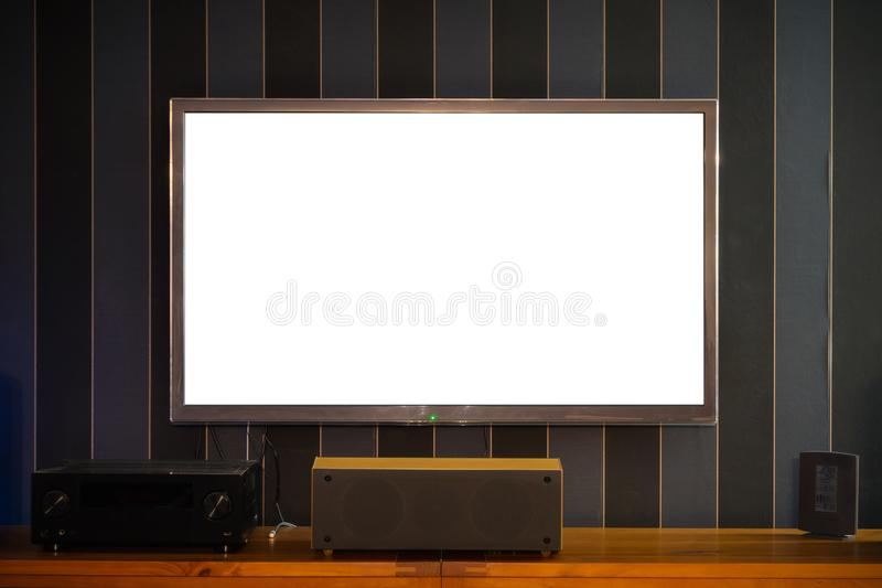 Grand grand écran plat vide vide de TV image libre de droits