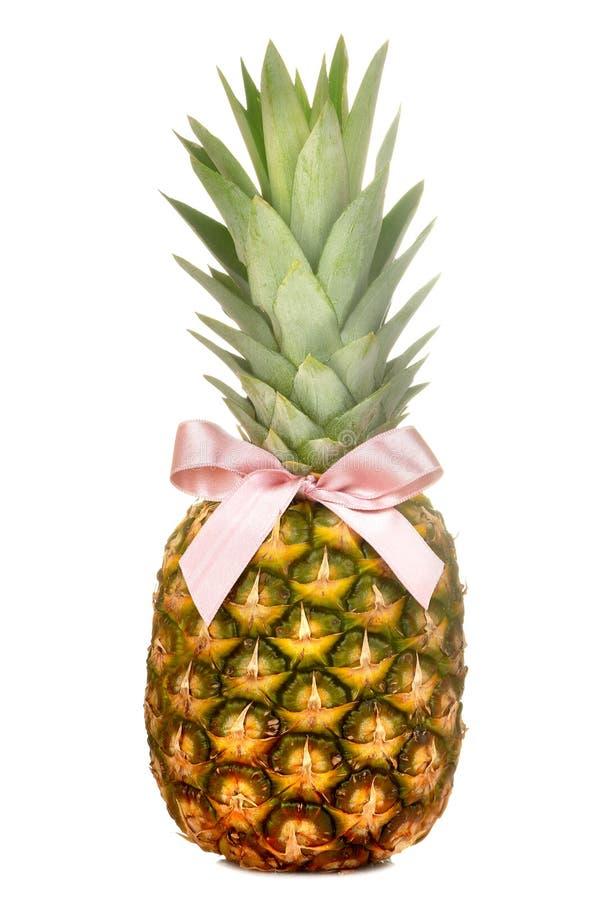 Grand ananas mûr frais de fruit avec un arc rose sur un fond d'isolement blanc Fruit d'?t? images libres de droits
