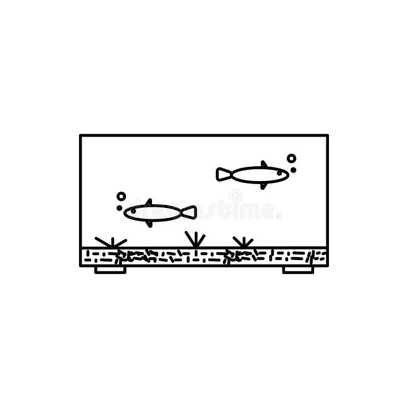 grand aquarium avec l'icône linéaire de vecteur de poissons illustration stock