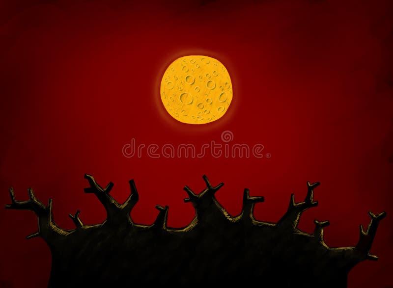 Grand arbre et pleine lune illustration libre de droits