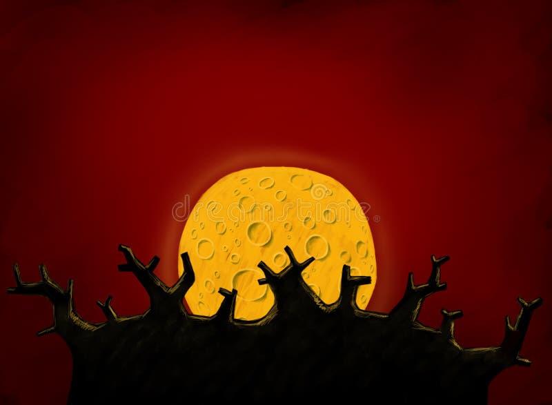 Grand arbre et pleine lune illustration de vecteur