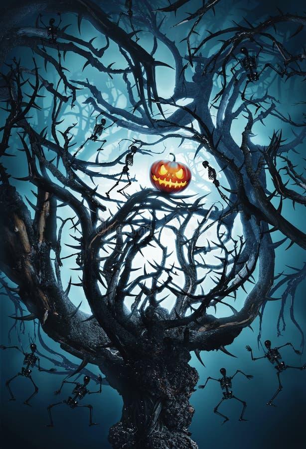 Grand arbre mystique avec le potiron et les squelettes de Halloween illustration de vecteur