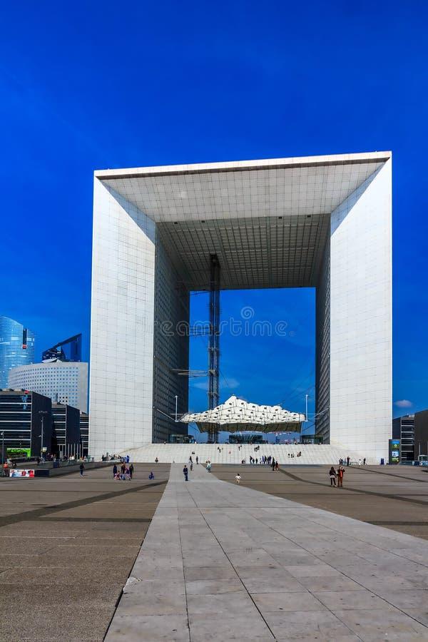 Grand Arch in business district La Defense, Paris, France. stock photos