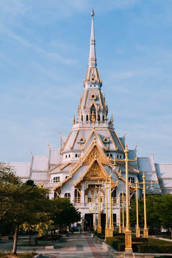 Grand architecture of Wat Sothon Wararam Worawihan, Chachoengsao, Thailand royalty free stock photos