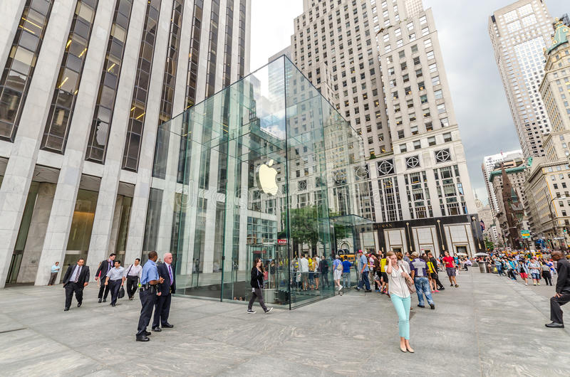 Grand Army Plaza (Manhattan). NEW YORK - JUL 17: Apple Store in Grand Army Plaza, NYC on July 17, 2014. Grand Army Plaza lies at the intersection of Central Park stock image