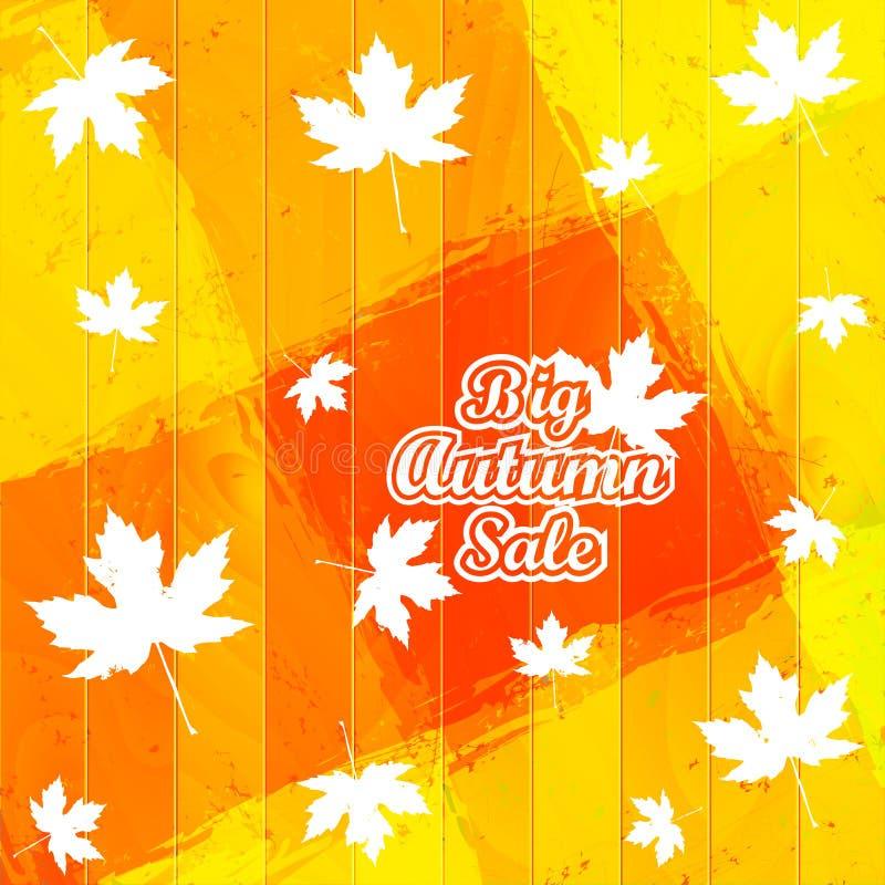 Grand Autumn Sale Autumnal Maple Leaf sur un fond en bois illustration stock