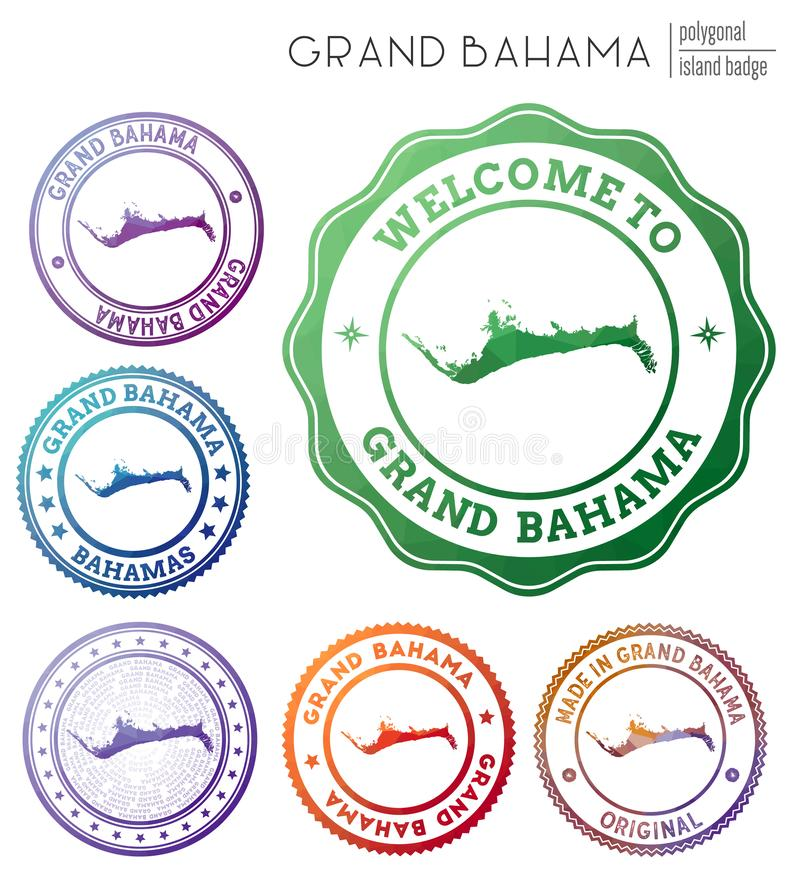 Grand Bahama badge. Colorful polygonal island symbol. Multicolored geometric Grand Bahama logos set. Vector illustration vector illustration