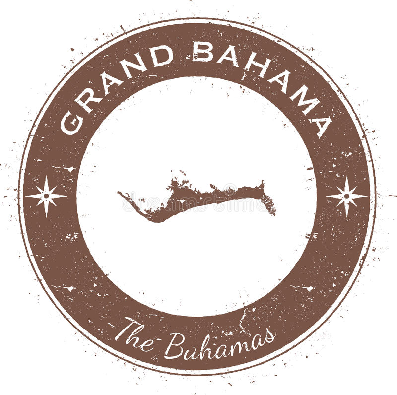 Grand Bahama circular patriotic badge. Grunge rubber stamp with island flag, map and name written along circle border, vector illustration vector illustration