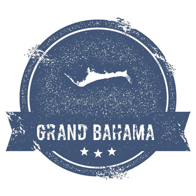 Grand Bahama logo sign. Travel rubber stamp with the name and map of island, vector illustration. Can be used as insignia, logotype, label, sticker or badge stock illustration